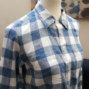 Ralph Lauren linen blue and white plaid shirt